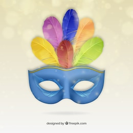 Blue carnival mask with colorful feathers