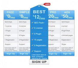 blue clean web ui pricing table template psd