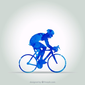 Blue cyclist in abstract style