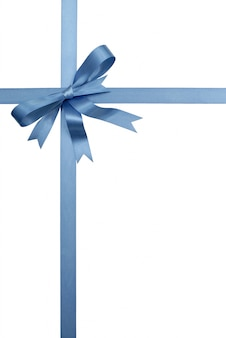 Blue decorative gift ribbon and bow