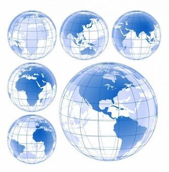 blue earth globe vector set