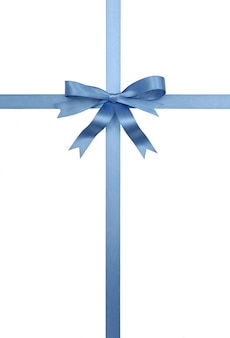Blue gift ribbon and bow