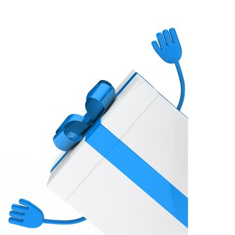 Blue gift with arms