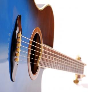 青いギターのネック