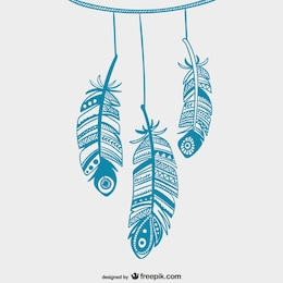 Blue hanging feathers