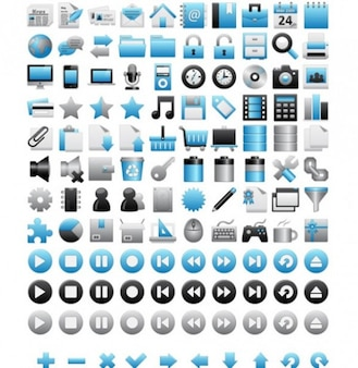 Blue icons simple vector pack