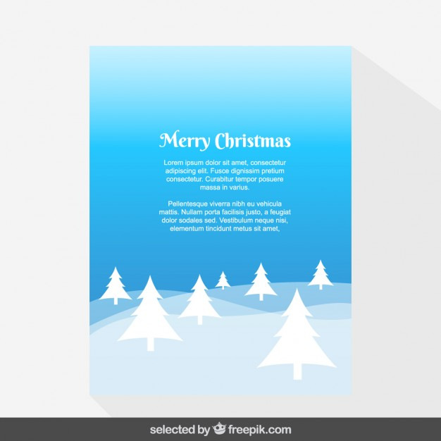 Blue landscape with trees Christmas card