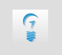 Blue light bulb graphic vector logo