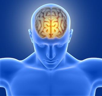 Blue man with headache