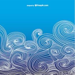 Blue ocean wavy background