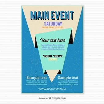 Blue origami poster template