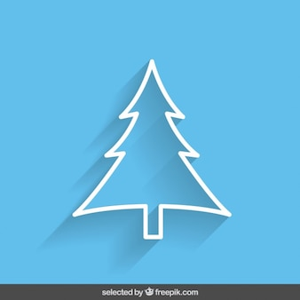 Blue outline tree Christmas card