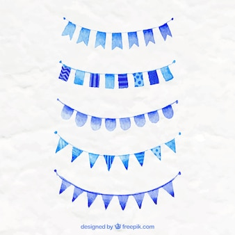 Blue party flags