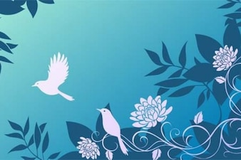 Blue pattern with birds and flowers