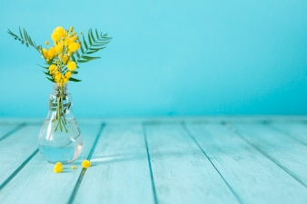 Blue planks with yellow flowers
