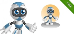 Blue robot character with thumbs up