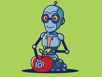Blue robot with red apple