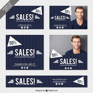 Blue sales banners pack