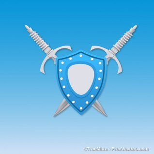Blue shield with swords