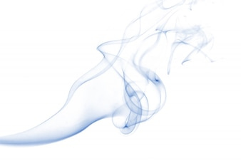 Blue smoke collection on white background