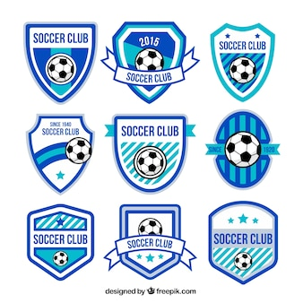 Blue soccer badges