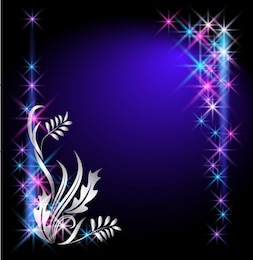 Blue starry with silver floral overlay abstract background