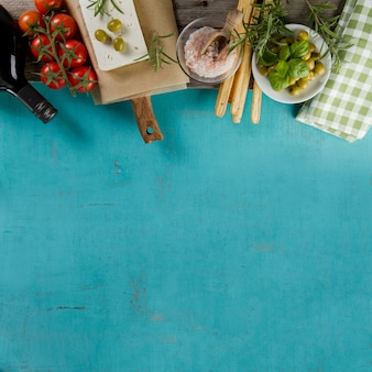 Blue surface with blank space and decorative products