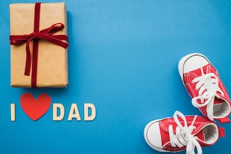 Blue surface with decorative elements for father's day