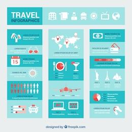 Blue travel infographics
