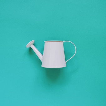 Blue watering can on green background