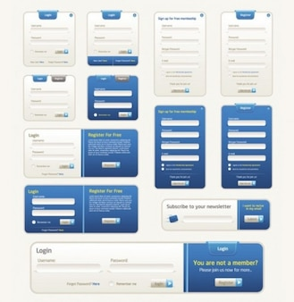 Blue web ui kit with login forms