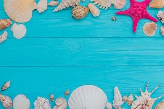 Blue wooden surface with seashells and blank space for messages