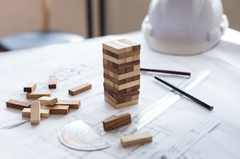 Blueprint wooden block  tower, Planning, risk and strategy in business or architectural project.