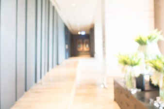 Blurred corridor with plants