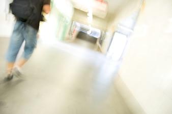 Blurred person walkin