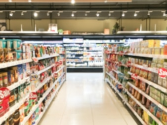 Blurred shelves with food