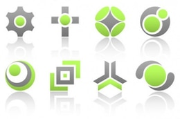 Bold green grey design vectors pack