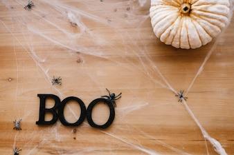 Boo writing on cobweb