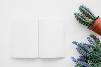 Book cover mockup with cactus and flowers