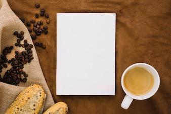 Book mockup with coffee