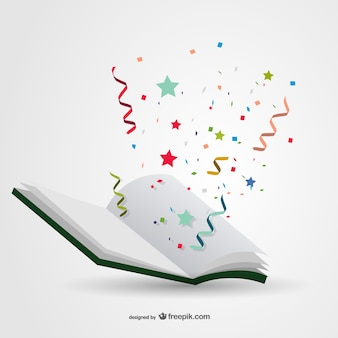 Book with confetti vector