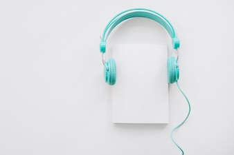 Booklet mockup with headphones