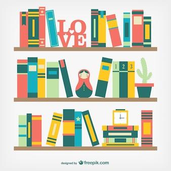 Books on shelves in flat design