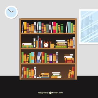 Books on the shelves in cartoon style