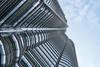 Bottom view of contemporary skyscraper