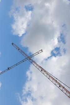 Bottom view of metal crane