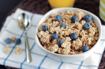 Bowl of cereals with blueberries