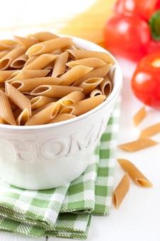 Bowl of uncooked macaroni