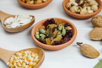 Bowl with beans and raisins