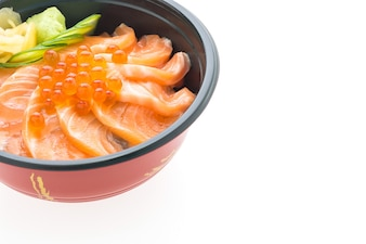 Bowl with tasty salmon